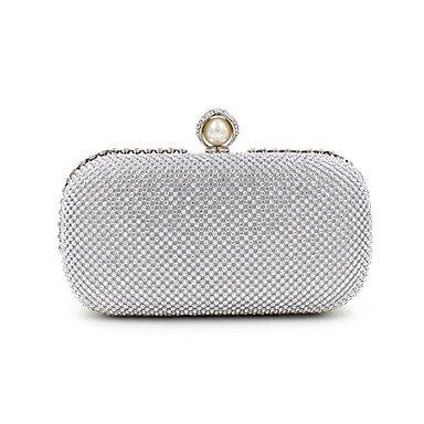 Frauen elegante Hochwertige Imitation Pearl Diamonds Abend Tasche Silver