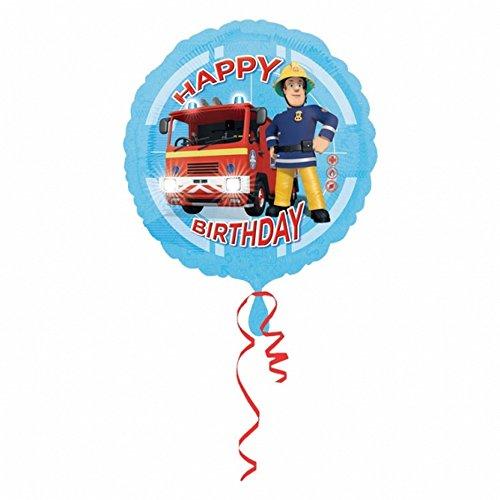 mit Feuerwehrmann Sam Design und Aufschrift Happy Birthday, rund (Einheitsgröße) (Blau) ()
