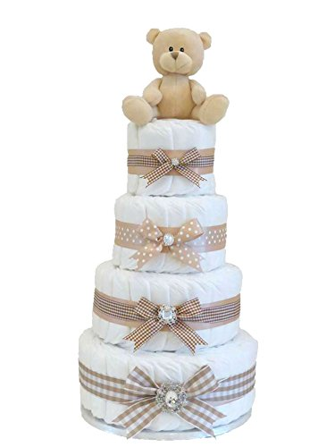 Signature extra large Luxury Four Tier unisex beige Nappy cake/Baby Hamper/Baby Shower Gift/New Arrival Gift/Newborn Gift/Baby Girl Gift/Gift for Baby Gifl/Maternity Gift/spedizione veloce