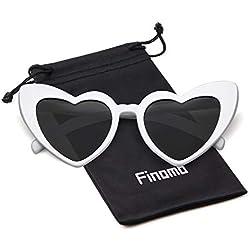 Finomo Gafas de sol del corazón Mujeres de las mujeres UV400 Gafas de gran tamaño