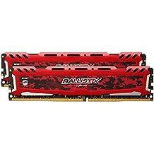 Ballistix Sport LT BLS2C8G4D240FSE - Kit de memoria RAM de 16 GB (8 GB x 2, DDR4, 2400 MT/s, PC4-19200, DR x8, DIMM, 288-Pin), rojo