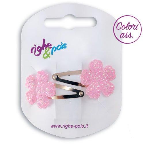 131 – 609 – Pinces pour Cheveux Fille 2 pièces CLIC CLAC Fleur Glitter cm 4 rose