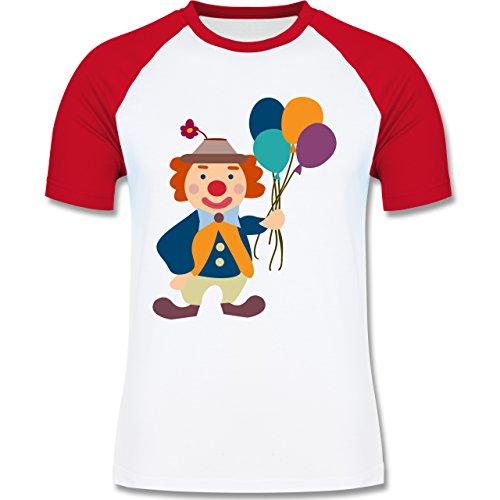 Karneval & Fasching - Clown Luftballons - zweifarbiges Baseballshirt für Männer Weiß/Rot