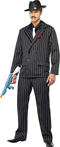 Smiffys Herren 20er Jahre Gangster Kostüm, Jacke mit Rose, Hose, Hemdfront und Schlips, Größe: L, 25603