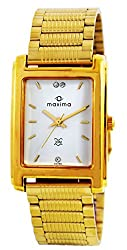 Maxima Formal Gold Analog White Dial Mens Watch - 02358CPGY