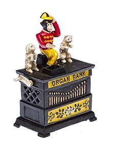 Tirelire en forme d'orgue de Barbarie avec petit singe/chat/chien - style ancien - fer