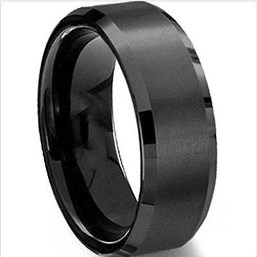 Merssavo Schmuck Herren-Ring Damen-Ring Titan-Stahl Vintage Ring, Schwarz