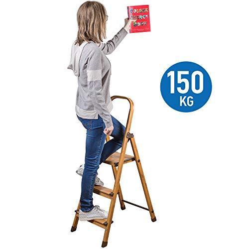 Tatkraft Upgrade 3 | 16835 | Trittleiter 3 Stufen, Leiter Haushalt Stabil Bis 150 KG | Aluminium, PVC | Klapptritt, Anti-Rutsch | Skandinavischer Holz Look