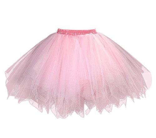 Feoya Damen Tutu Unterkleid 50er Retro Petticoat Kurz Ballett Tanzkleid Party Minirock Mehrschichtige Tüllrock Tütü Cosplay Unterrock Rosa