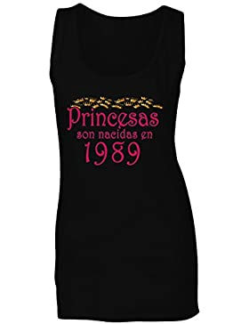 Princesas son nacidas en 1989 camiseta sin mangas mujer qq39ft