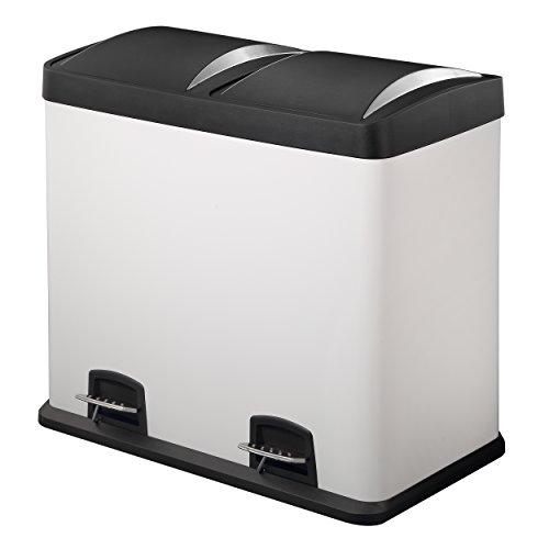 HARIMA - Cubo Basura Reciclaje Blanco Con Pedal y Tapas De Plástico - Dual 48L Con 2 Compartimentos Extraíbles De 24L Para Separar Los Residuos