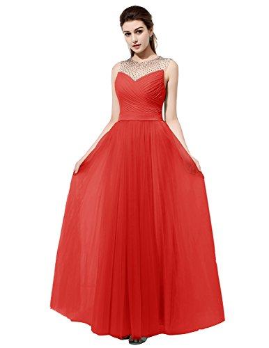 Dresstells Robe de cérémonie Robe de demoiselle d'honneur en mousseline tulle longueur ras du sol Rouge