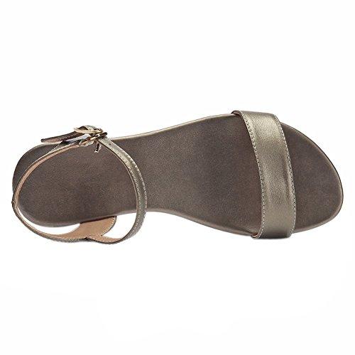 EKS Damen Leder Sandalen Flats Fersen Casual Sommer Ankle Strap Sandals Schuhe Champagner-Leder