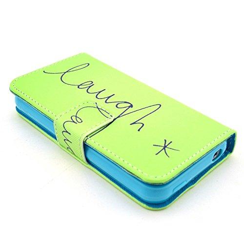 [A4E] Handyhülle passend für Apple iPhone 4 (4G;4S) Schutzhülle Hülle Kunstleder Tasche, seitlicher Magnetverschluss, Standfuß, mit YOLO 'laugh' Slogan (grün, blau, schwarz) YOLO - laugh
