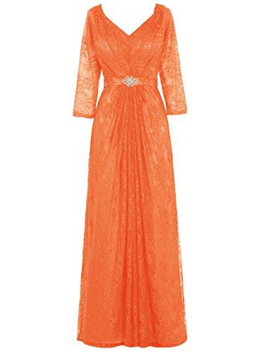 Bbonlinedress Robe de cérémonie Robe de mère de la mariée en dentelle col en V avec manches Orange
