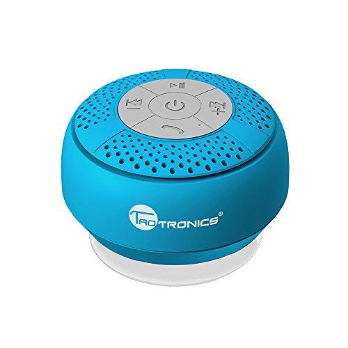 Bluetooth Lautsprecher TaoTronics IPX4 Mini Wasserfester Wireless Speaker mit Saugnapf (Spritzwassergeschützt, 3.0 Freisprecheinrichtung, Eingebautes Mikrofon, Kraftvoller Saugnapf, A2DP/AVRCP)