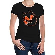 buXsbaum® Damen Kurzarm Girlie T-Shirt bedruckt Fuchs V2 | Raubtier Rotfuchs