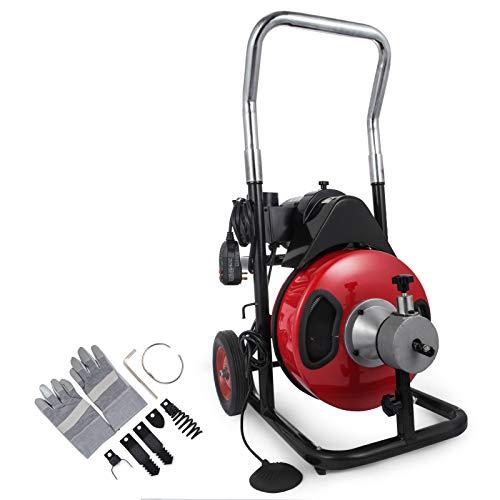 Mophorn Rohrreinigungsmaschine 400W 220V Rohrreiniger 5cm bis 10cm drain clean Rohrreinigungsgerät mit 15m Kabel für Sewer Badewanne (50FT)