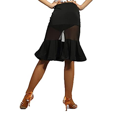 "G2040 latin dance translucent yarn-connected ""fishbone"" swing skirts with the tail split ends (black, small)"