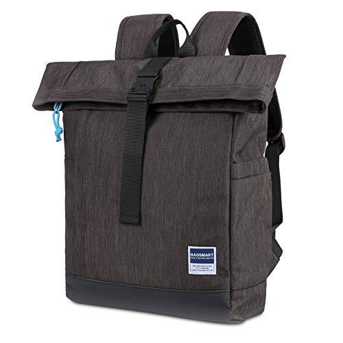 BAGSMART Laptop Rucksack 15.6 Zoll Notebook Reise Backpack Modern Daypack Aktentasche Roll-Top für Schule Arbeit Business, Schwarz