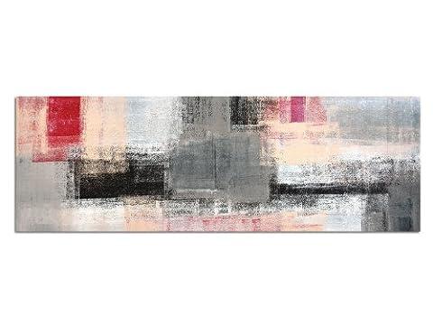 Panoramabild auf Leinwand und Keilrahmen 120x40cm Kunstmalerei abstrakt grau rot gelb weiß