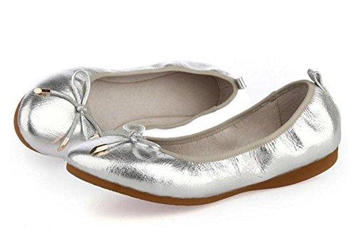 SHINIK Frauen-Sommer-neue Schaffell-Ei-Schuh-Frauen-Damen-Bogen-Antriebs-Auto-flachen Mund-Tanz-Schuh-runde Steigung mit Schuhen Silver