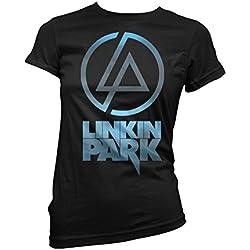LaMAGLIERIA Camiseta Mujer Linkin Park - Sky Texture Logo Camiseta Rock Band 100% Algodon, S, Negro