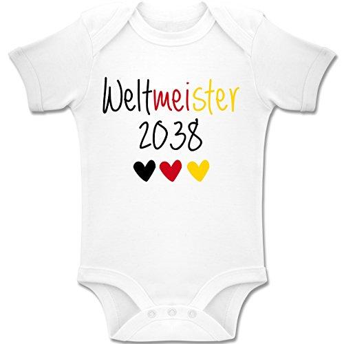 Shirtracer Strampler Motive - Weltmeister 2038 - EM 2016 - Fußball - 6-12 Monate - Weiß - BZ10 - Baby Body Kurzarm Jungen Mädchen