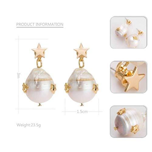 und Amerikanische Mode Übertrieben Frauen Ohrringe Tropfen Art Ohrringe Perle Ohrringe Fünfzackigen Stern Ohrringe, 3 * 1,5 cm, Gold ()