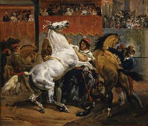 GFM Painting - Riproduzione fatta a mano di Pittura ad Olio. Soggetto:The Start of the Race of the Riderless Horses by 1820,Pittura ad Olio di Emile Jean Horace Vernet - 72 By 96 pollici