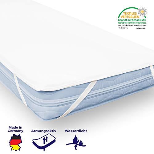 Wasserdichte Matratzenauflage und Inkontinenzunterlage, als Matratzenschoner verwendbar,weiß, atmungsaktiver Matratzenschutz aus strapazierfähiger Baumwolle, bei 90°C waschbar (90 x 200 cm)