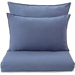 """URBANARA Bettwäsche """"Luz"""" - 100% reine Baumwolle, Blau mit Stonewashed Effekt – 1 Bettbezug 135x200 cm + 1 Kissenbezug 80x80 cm, 2-teiliges Set Baumwoll-Bettwäsche, Bettwäsche-Set, bügelfrei"""