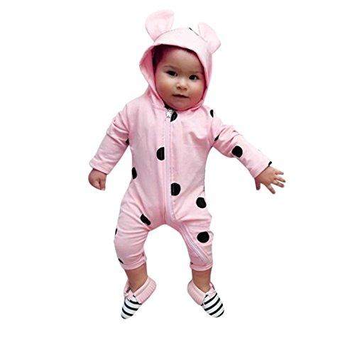 Baby Mädchen Jungen Kapuze Cartoon Strampler Neugeborenen Baby Dot Ear Hoodie Reißverschluss Strampler Overall Outfits Babykleidung von Longra (Pink, 90CM 18Monate)