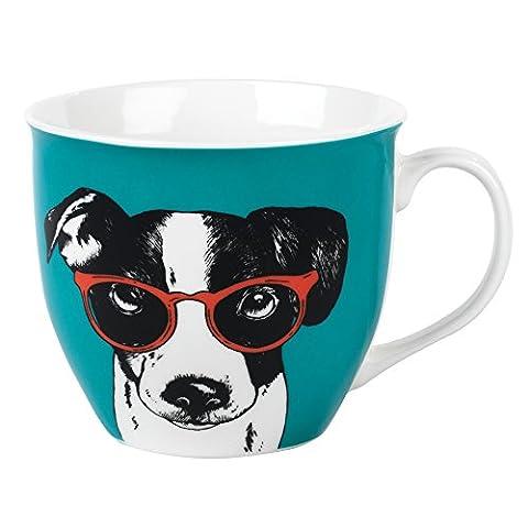 Cambridge CM054921 Oxford Dog in Glasses Mug, Fine China, Multicoloured, 11 x 5.5 x 8.5 cm