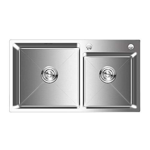 Auralum Lavello da cucina Acciaio Inox Spazzolato 2 Vasche con 2 Fori di Montaggio e Tappo Filtro Lavello Scarico 78 x 43 x 22 Manuale