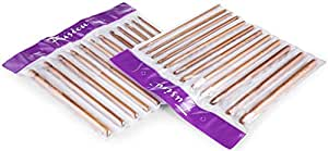 FUSION - Set of 12 High Quality Bamboo Carbonized Crochet Hooks Needles 3mm, 3.5mm, 4mm, 4.5mm, 5, 5.5, 6mm, 6.5mm, 7mm, 8mm, 9mm and 10mm in a plastic partitioned wallet/case