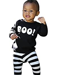 DOLDOA Niños Infant Baby Boy Little Devil Blusa Top + Stripe Pantalones Conjunto de Halloween Set