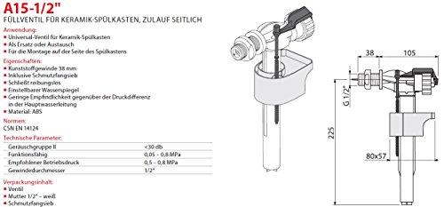 """Füllventil für WC- Keramik Spülkasten 1/2"""" Füll-Ventil Anschlußgewinde Seitlich Neu Schwimmerventil Gewindeendung"""
