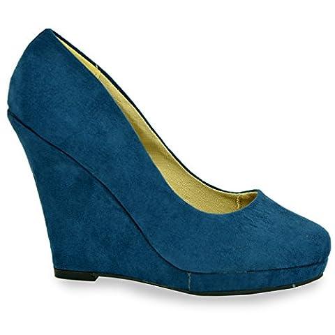 Cucu Fashion , Damen Durchgängies Plateau Sandalen mit Keilabsatz, Blue