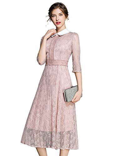 LAI&MENG Damen 3/4 Ärmel Vintage Puppenkragen Spitzen Abendkleider Cocktail Party Kleid Rosa