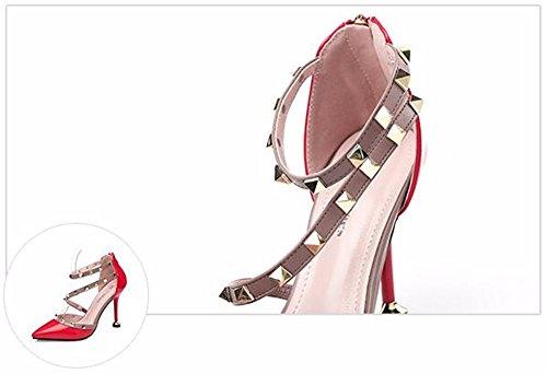 FLYRCX Sexy europea ha sottolineato il rivetto di bocca poco profonda pregiata pelle tacchi alti lady scarpe. B