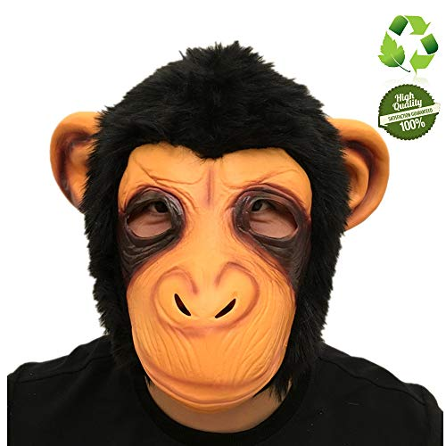 Morbuy Interessant Halloween Maske, Neuheit Erwachsene Latex Tier Masken Perfekt für Fasching Karneval Kostüm Weihnachten Halloween Cosplay Kostüme Für Männer und Frauen (Orang-Utan)