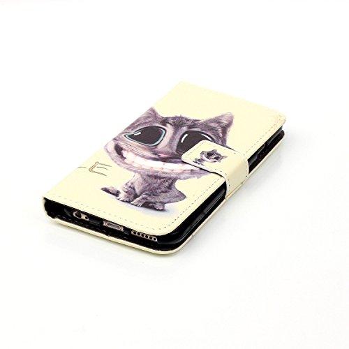 Coque Etui pour iPhone 6 / 6S, iPhone 6 Coque Etui Housse Portefeuille, iPhone 6S Bookstyle Étui Relief dessin animé peinture Housse en Cuir Case à rabat, iPhone 6 / 6S Leather Case Wallet Flip Protec Chat
