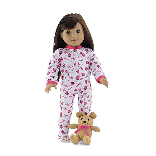 18 Inch Doll Clothes | Cozy and Cute Footed Ladybug Print Pajama Outfit Onesie with Teddy Bear | Fits American Girl Dolls