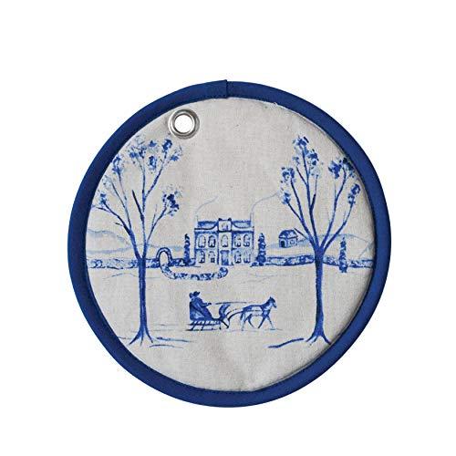 Creative Co-op XM1711 Topflappen, rund, Baumwolle, mit Winterszene, 20,3 cm, Blau/Weiß