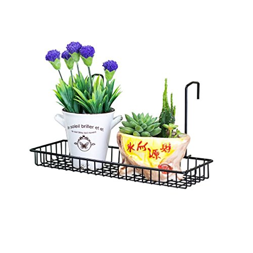 Chris wang iron wire outdoor rettangolo plant caddy, patio fence deck porches ringhiera mensola vasi da fiori e più holder, salvaspazio office cubicle grid works sundries storage rack (nero)