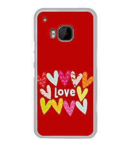 Multicolour Love Hearts 2D Hard Polycarbonate Designer Back Case Cover for HTC One M9 :: HTC One M9S :: HTC M9 :: HTC One Hima