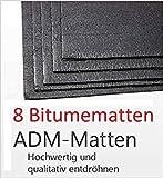 Bitumenmatte Bitume ADM ADM-Matte Anti/Droehn/Matte 50 x 20 cm selbstklebend (8 Stück) Türdämmung Dämmung Dämmmaterial Dämmmatte Carhifi Autohifi Oldtimer