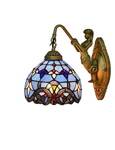 Tiffany Wandleuchten Europäischen Barock Tiffany Leuchte Schlafzimmer Licht Mermaid-Stil Spiegel Vorne Licht Retro Badleuchte Farbe Glas Lampeschirm Wandlampe für Foyer Flur -