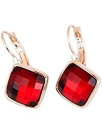 4d79a27df454 Crystals from Swarovski Rojo Siam Pendientes 18k Chapado en oro rosa para  mujer